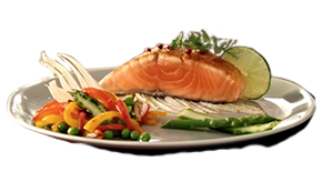 Vegetables and salmon dish